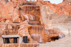 The waterfall on red rock in Egypt at summer Royalty Free Stock Images