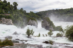 Waterfall on rhine river Royalty Free Stock Photo