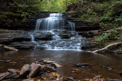Waterfall at Ricketts Glen State Park in Autumn Stock Photo