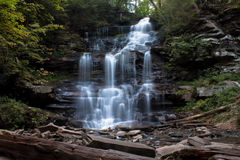 Waterfall at Ricketts Glen State Park in crisp Autumn weather Stock Photo