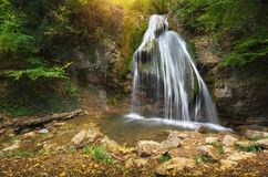 Waterfall and rill flow. stock photography