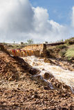 Waterfall in Riotinto mining area, Andalusia, Spain Royalty Free Stock Images