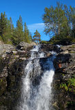 Waterfall on Risjok river in Khibiny Mountains Stock Images