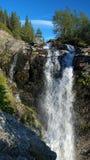 Waterfall on Risjok river in Khibiny Mountains Royalty Free Stock Photos