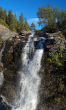 Waterfall on Risjok river in Khibiny Mountains Royalty Free Stock Photography