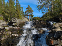 Waterfall on Risjok river in Khibiny Mountains Stock Photo