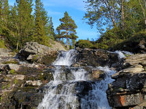 Waterfall on Risjok river in Khibiny Mountains Stock Image