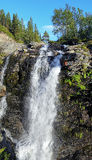 Waterfall on Risjok river in Khibiny Mountains Stock Photos