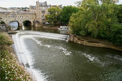 Waterfall on the river in Bath royalty free stock photo