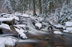 Waterfall river Bode in Winter Stock Image