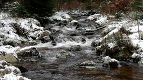 Waterfall river Bode in Winter stock video footage