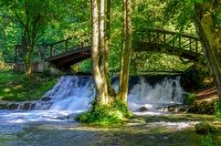Waterfall of river Bosna near Sarajevo. Spring of the Bosna river, Nature park Vrelo Bosne near Sarajevo - Bosnia and Herzegovina stock photos
