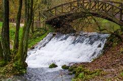 Waterfall of river Bosna near Sarajevo. Spring of the Bosna river, small waterfall and park Vrelo Bosne near Sarajevo - Bosnia and Herzegovina stock photo
