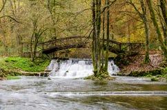 Waterfall of river Bosna near Sarajevo. Spring of the Bosna river, small waterfall and park Vrelo Bosne near Sarajevo - Bosnia and Herzegovina stock image