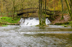 Waterfall of river Bosna near Sarajevo. Spring of the Bosna river, small waterfall and park Vrelo Bosne near Sarajevo - Bosnia and Herzegovina royalty free stock photography