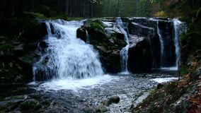 Waterfall from river Elbe in the Giant Mountains in Bohemia stock video footage