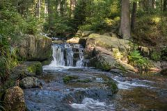 The waterfall on river in Harz, Germany.  Stock Photo