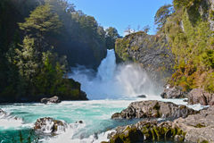 WATERFALL. And the river, Huilo Huilo stock image