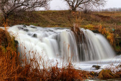 Waterfall on the river Kalmius Royalty Free Stock Images