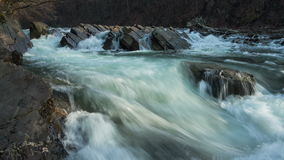 Waterfall on the river in mountains stock video footage