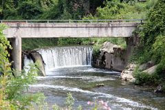 Waterfall river north Italy Royalty Free Stock Image