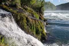Waterfall on the river Rhine. A raging waterfall among moss-covered rocks Stock Photo