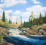 Waterfall on the river taiga in spring. Oil painting on canvas. Waterfall Royalty Free Stock Image