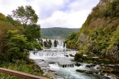 Waterfall on the River Uni royalty free stock photography