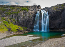 Waterfall on the road near Bildudalur in the Western Fjords of I Royalty Free Stock Images