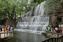 A waterfall at Rock Garden - Chandigarh - India. Rock Garden of Chandigarh is a sculpture garden founded by Nek Chand in Chandigarh, India. It is completely Royalty Free Stock Image