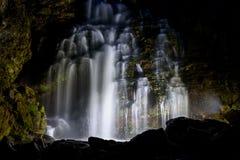 Waterfall rock night backlight Royalty Free Stock Photography