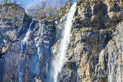 Waterfall in the Rocks Stock Images