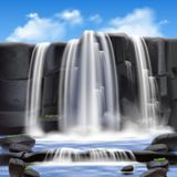 Waterfall And Rocks Background Stock Photos
