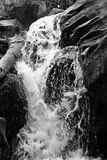 Waterfall on Rocks Black and White Royalty Free Stock Photography
