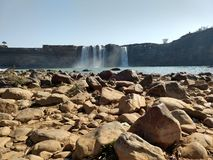 Front View of Chitrakoot Waterfall in January in chattisgarh. A very soothing vision in the morning. Front View of Chitrakoot Waterfall in January in royalty free stock image