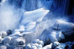 Waterfall and rocks covered in snow