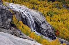 Waterfall on the rocks in the mountains in the golden autumn Royalty Free Stock Photos
