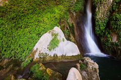 Waterfall in rocky grot. Cuerva dal Agua near Tiscar. Provincia de Jaen Stock Photos