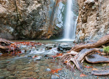 Waterfall at a rocky mountain slobe at  Troodos Cyprus. Stock Image