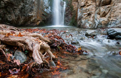 Waterfall between rocky mountain Troodos Cyprus. Royalty Free Stock Image