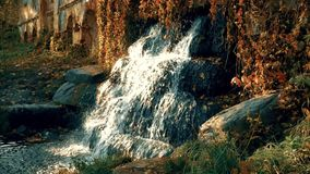 Waterfall on the Ruins in the Autumn Slowmotion. Waterfall on the ruins in the autumn evening slow motion stock video