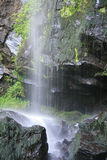 A waterfall is running in a forest in Auvergne (France)