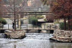 Waterfall on the San Antonio Riverwalk royalty free stock photo