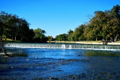 Waterfall at San Gabriel Park in Georgetown Texas stock images