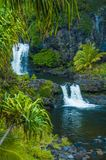 Waterfall scene on Maui royalty free stock photography