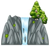 Waterfall scene with tree on the rock. Illustration Royalty Free Stock Image