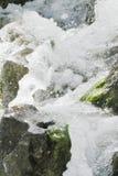 Waterfall scene in white water. Breaking on rocks Stock Image