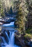 A waterfall in scenic Johnston Canyon, Banff National Park, Alberta, Canada royalty free stock photography