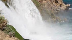 Waterfall into Sea. Karpuzkaldiran also known as Duden waterfall in Antalya, Turkey stock footage
