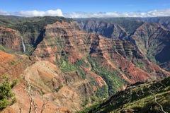 Waterfall seen in Waimea canyon on Kauai, Hawaii royalty free stock photo